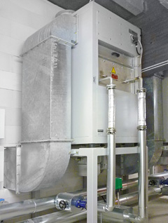 Hot air boxes for nozzle dryers: hot air box with steam air heater (vertical design)